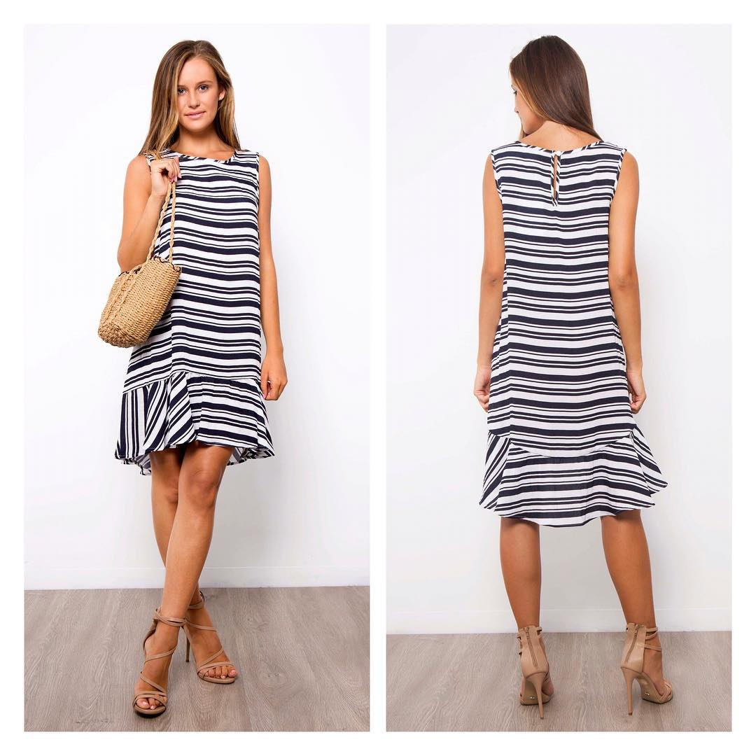 Stylish Stripes Ruffle Summer Dress With High Heels