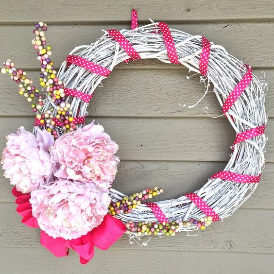 Stylish Wreath With Artificial Flowers For Easter