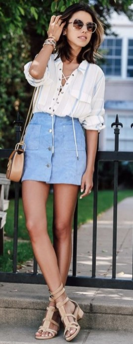 Swanky Front Button Denim Skirt Paired With White Tee And High Heels