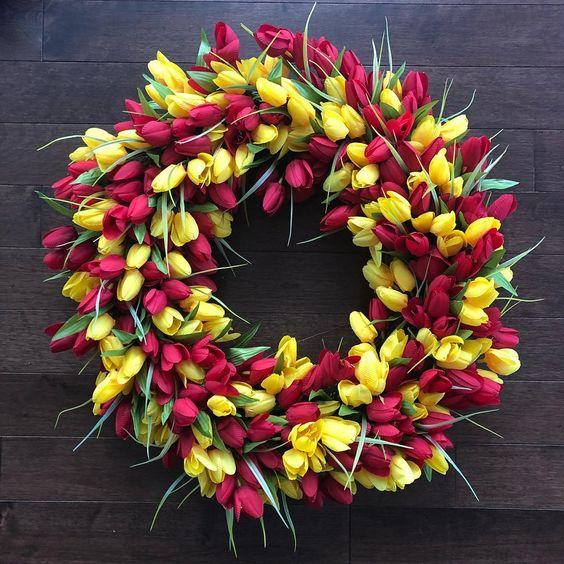 Tulip Wreath For Easter Door Decoration