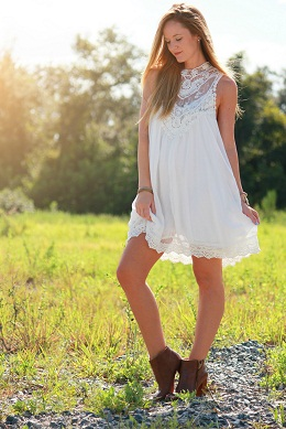 Ultimate White Lacy Neckline Cool Dress For Spring