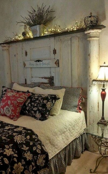 Vintage Charm In Cute Bedroom Unique Wooden Headboard Design In Vintage  Bedroom ...