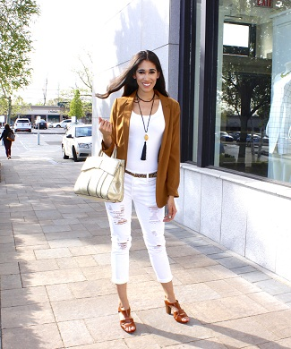 White Tee And White Ripped Ankle Length Pants Styled With Chestnut Brown Jacket And High Heels