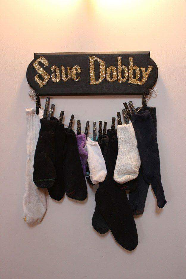 Wooden Socks Holder Of Save Dobby From Harry Potter Book For Laundry Room
