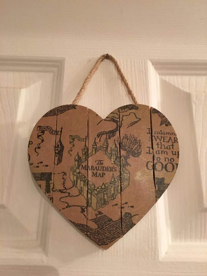 Wooden Wall Hanging For Door With Marauders Map From Harry Potter Chapter