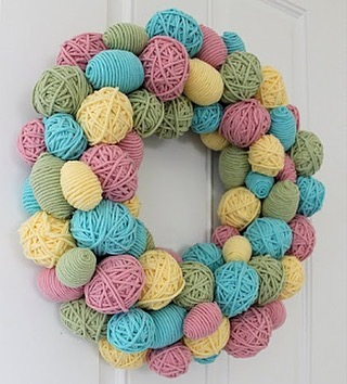 Yarn Balls Egg Wreath For Door Decoration At Easter