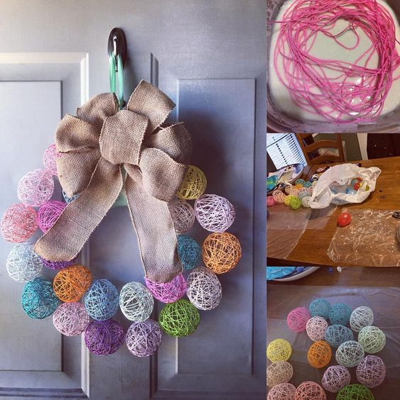 Yarn Egg Shape Wreath For Easter Decoration