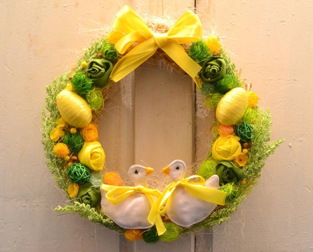 Yellow And Green Wreath With Eggs