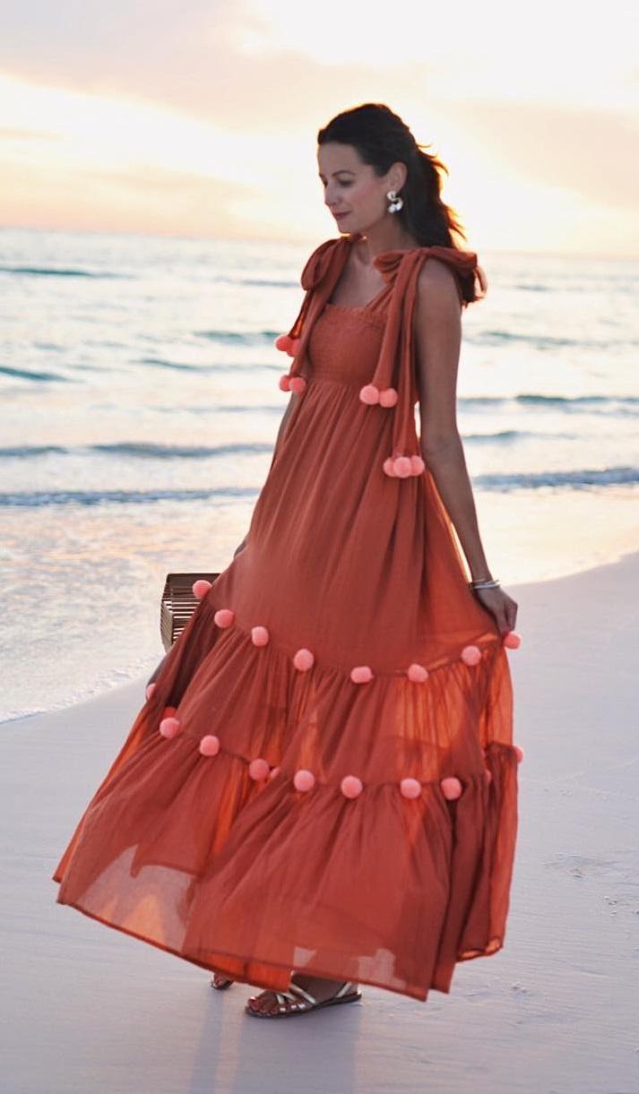 Absolutely Stunning Pom Pom Maxi Dress