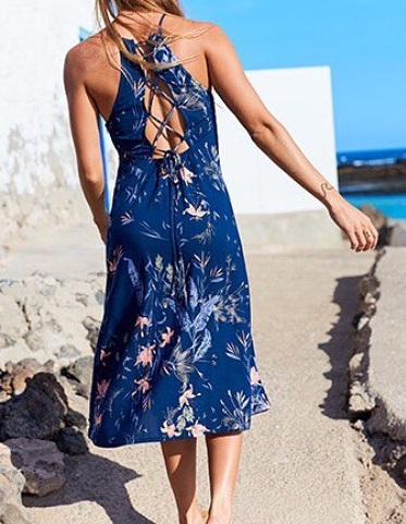 Alluring Blue Beach Dress