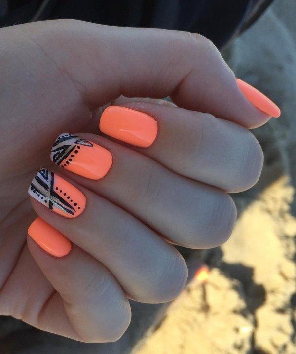 Alluring Orange Base Summer Nails