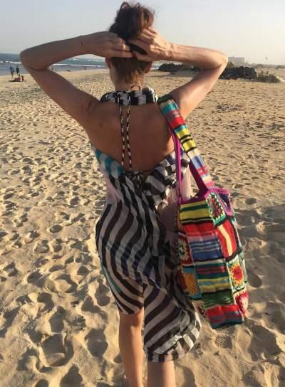 Amazing Bold Stripes Backless Dress