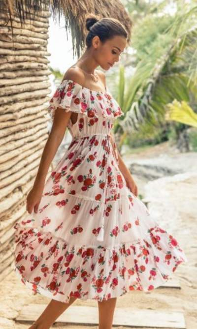 Amazing Floral Print Frock Style Summer Outfit