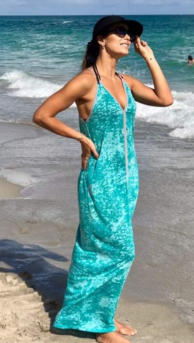 Aqua Cotton Beach Dress