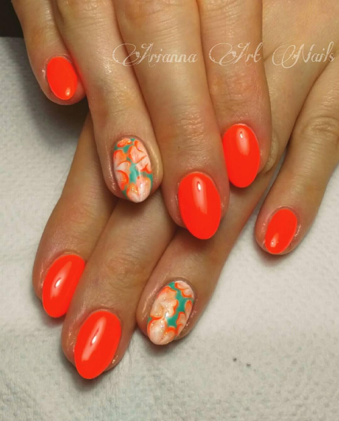 Artistic Floral Nails In Orange