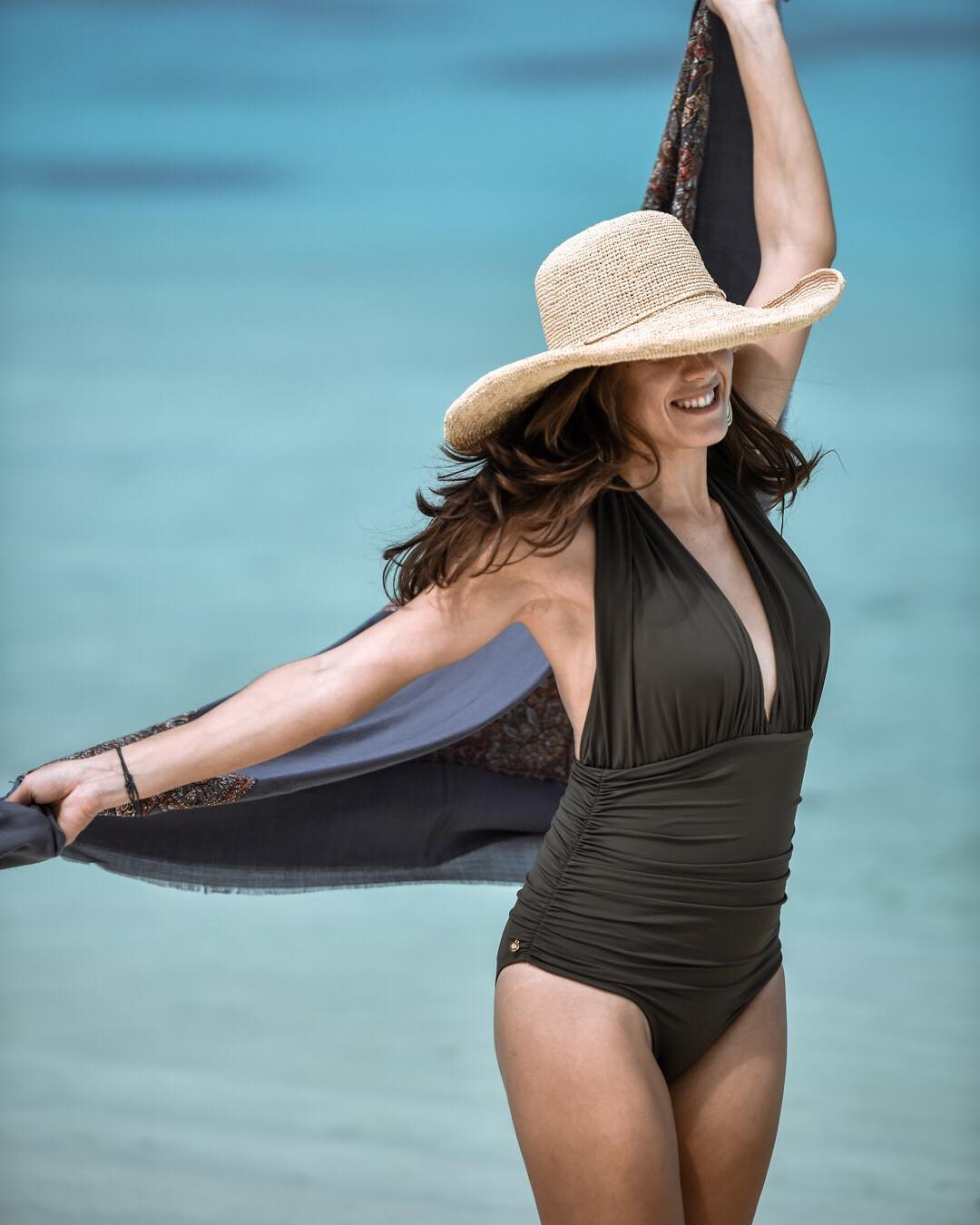 Awesome Swimsuit With Straw Hat