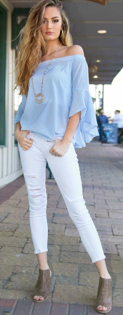 Baby Blue Ruffle Sleeves Off Shoulder Top With White Cropped Denim Jeans And Heels