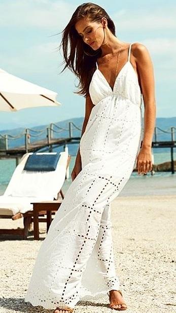 Backless White Spaghetti Strap Beach Outfit