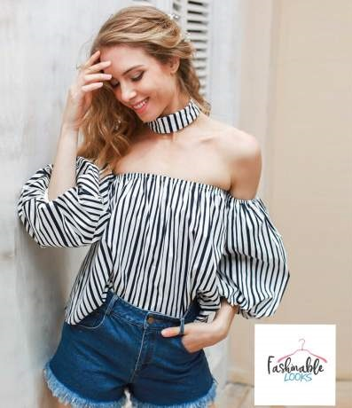 Beautiful Black And White stripes Off Shoulder Top With Puff Sleeves Is Perfect Street Style