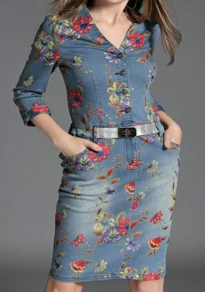 Beautiful Floral Print Denim Dress With Waist Belt And Pockets