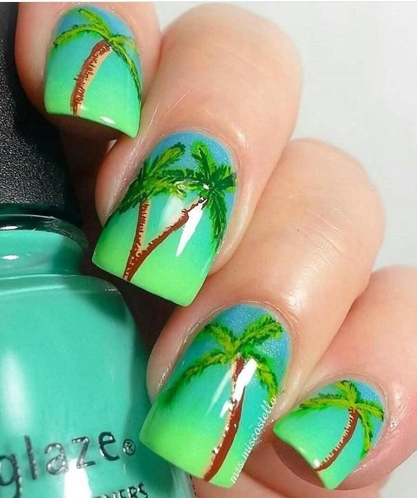 Beautiful Palm Tree Summer Nail Art