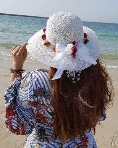 Beautiful Summer Hat Decorated With Ribbon And Pom-Pom