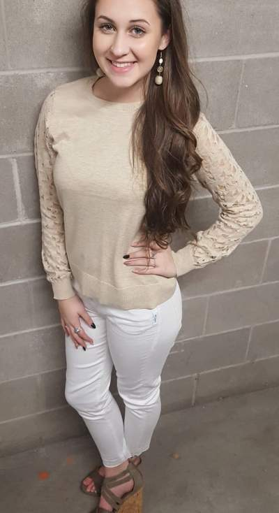 Beige Full Sleeves Top With White Denim Jeans And High Heels