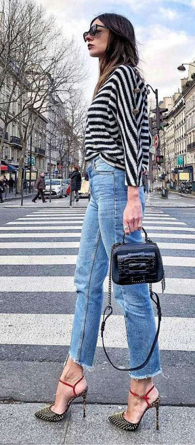 Black And White Striped Sweater, Cropped Jeans, High Heels And Handbag