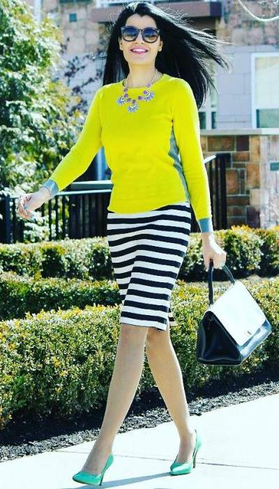 Black & White Striped Pencil Skirt, Neon Top, Lovely Shoes And Necklace