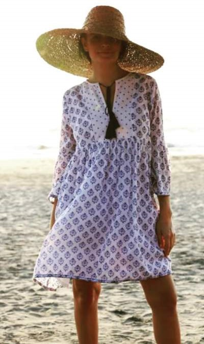 Block Print Boho Style Dress With Big Canopy Hat