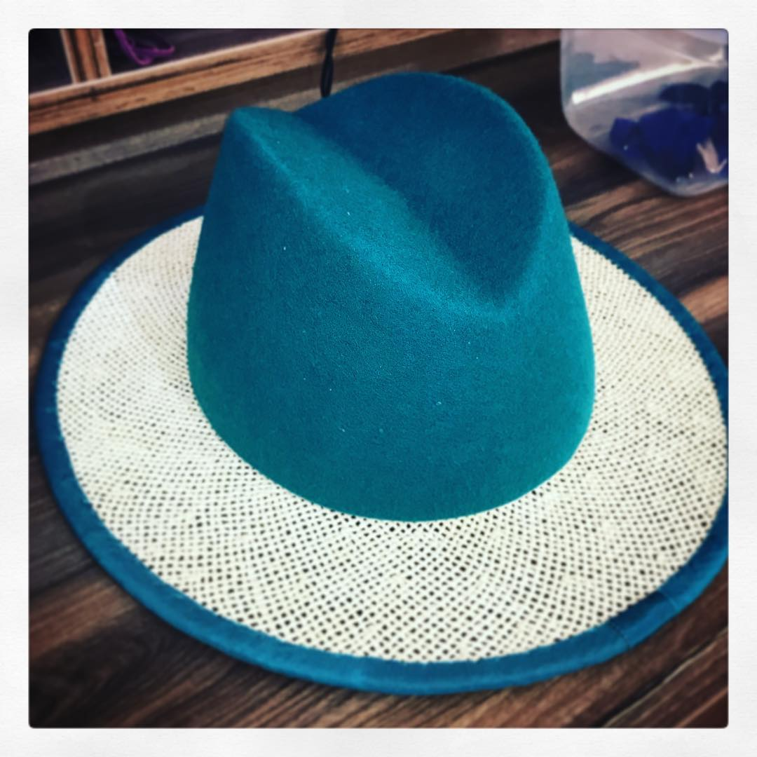 Blue And White Handmade Straw Hat