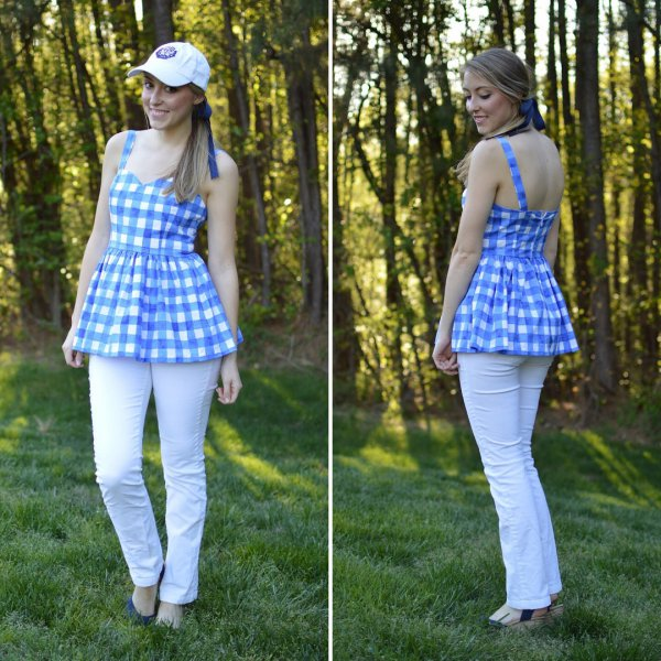 Blue Gingham Peplum Top With White Jeans