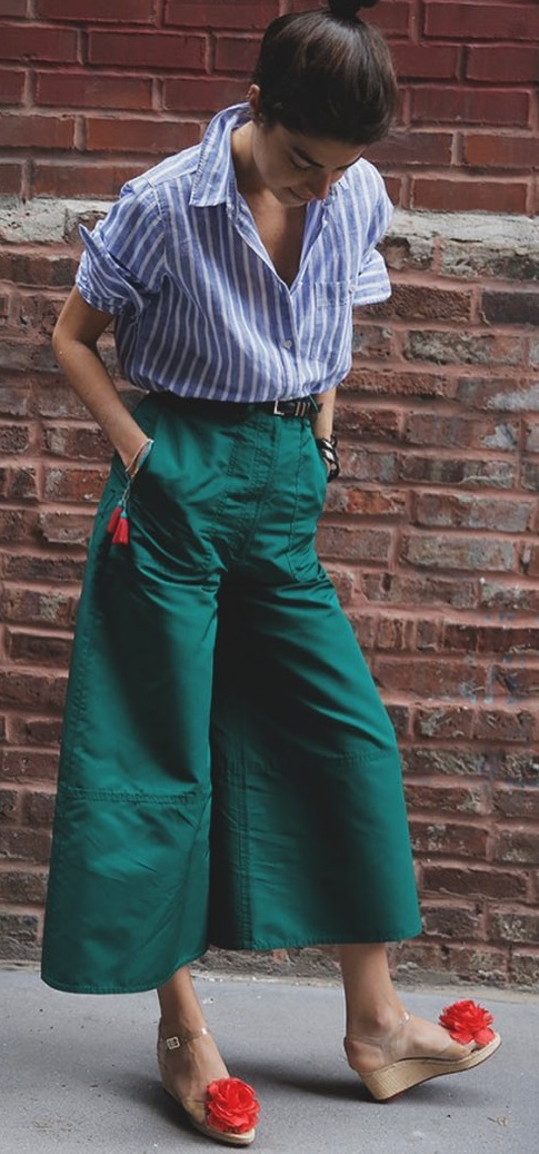 Blue Stripes Bottom Down Shirt With Wide Bottom Cropped Trouser