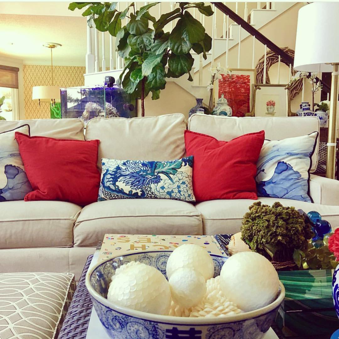 Blue & White Living Room With Addition Of Greenery Makes Interiors Beautiful