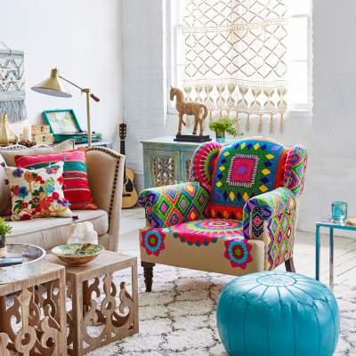 Bohemian Style Colorful Summer Living Room Decor