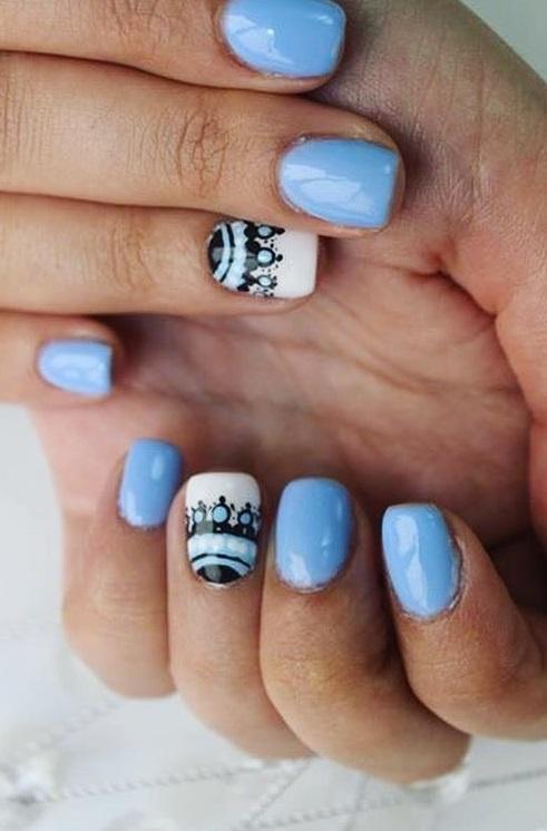 Boho Style Blue And Black Nails