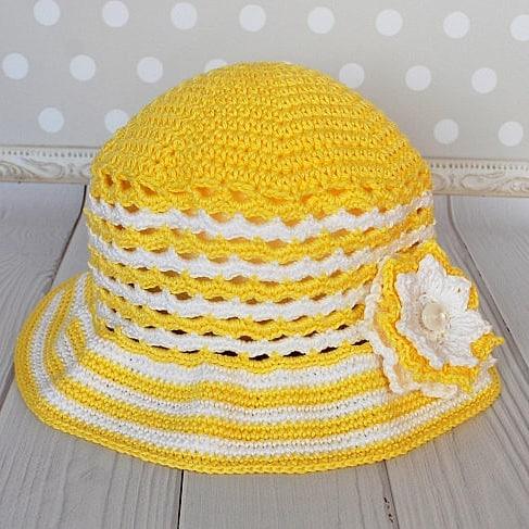 Bright Yellow Crochet Summer Hat