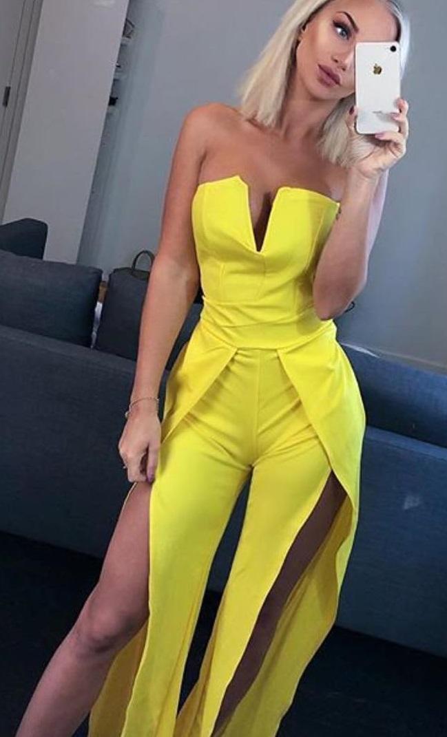 Bright Yellow Front Slit Jumpsuit