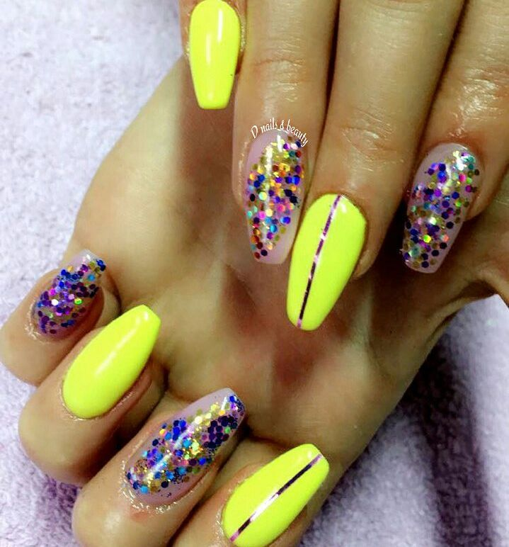 Bright Yellow With Sparkles To Complete The Bold Look