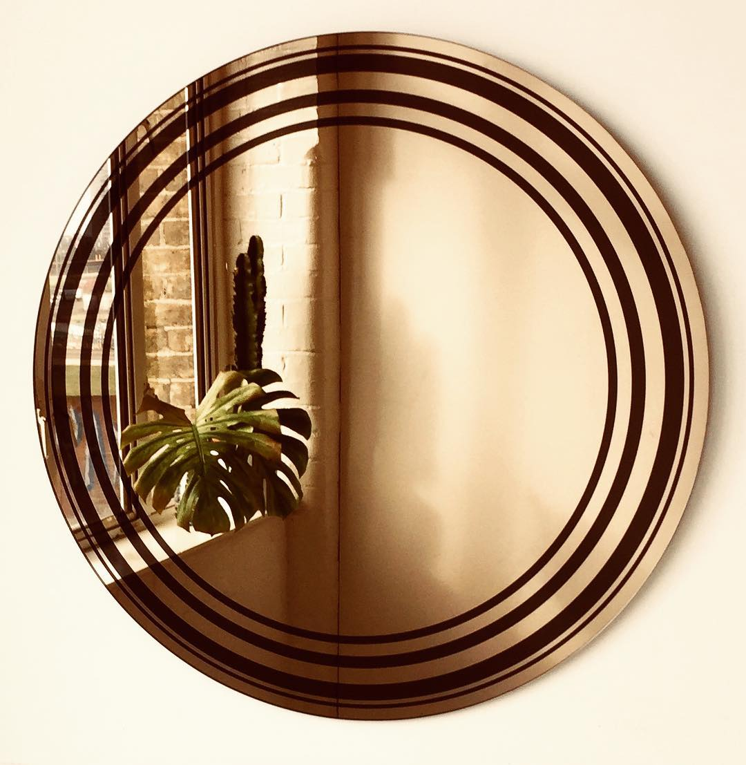 Bronze Round Mirror With Circular Rings