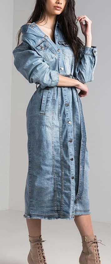 Button Down Denim Dress With Ankle Shoes