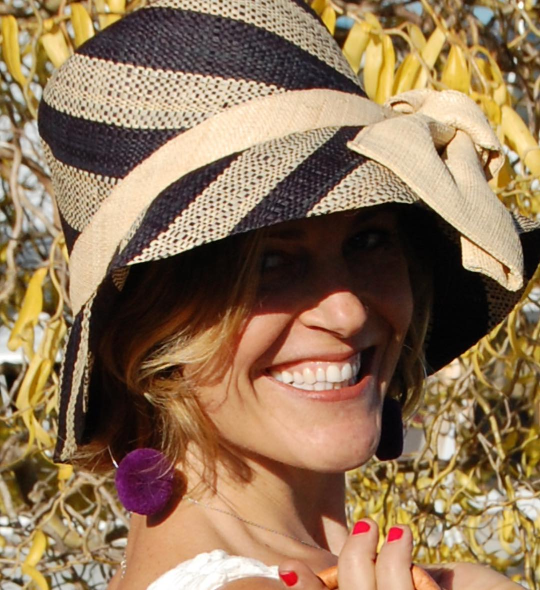 Chic Black & Natural Stripe Traveller Hat With Big Bow