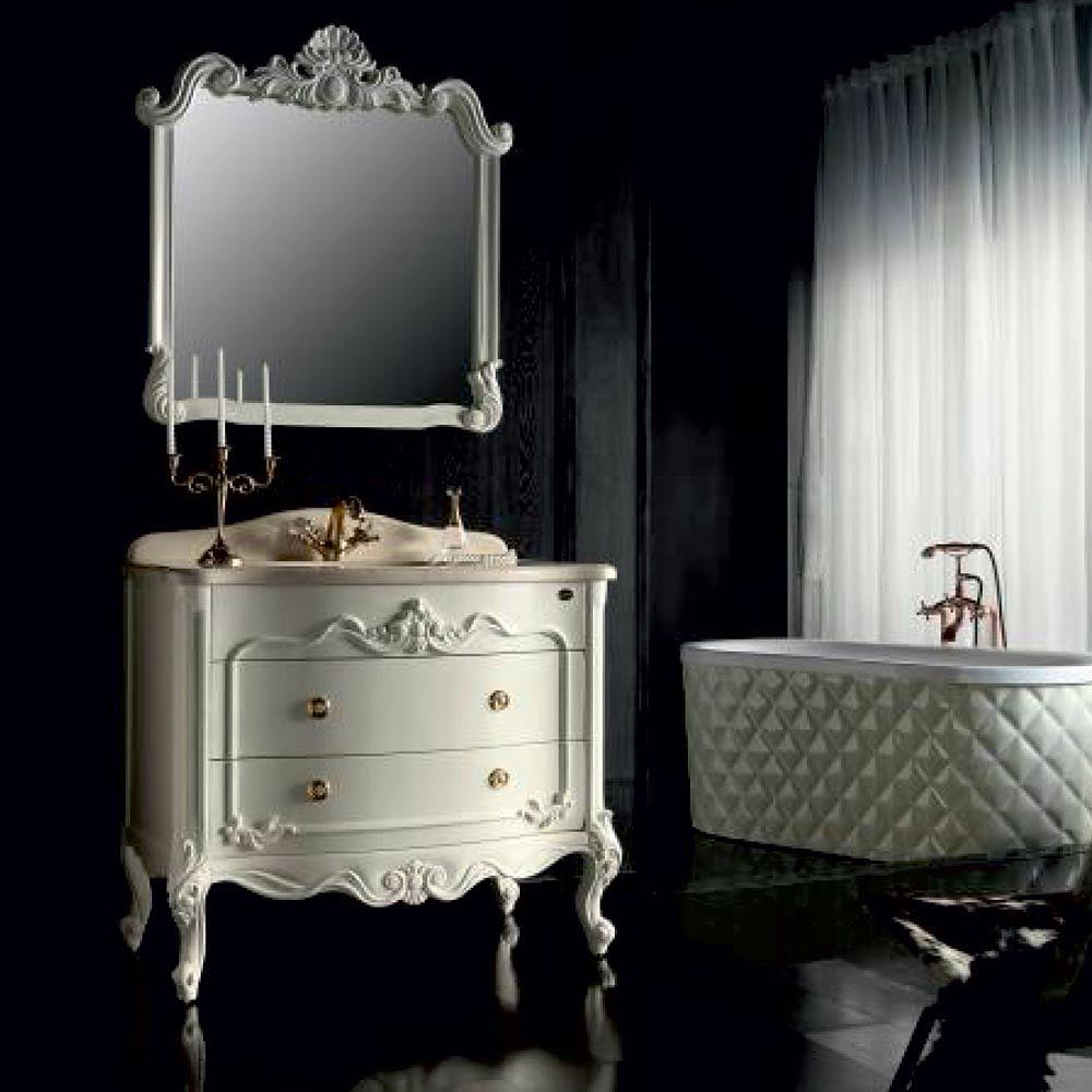 Classic White Bathroom With Royal Mirror