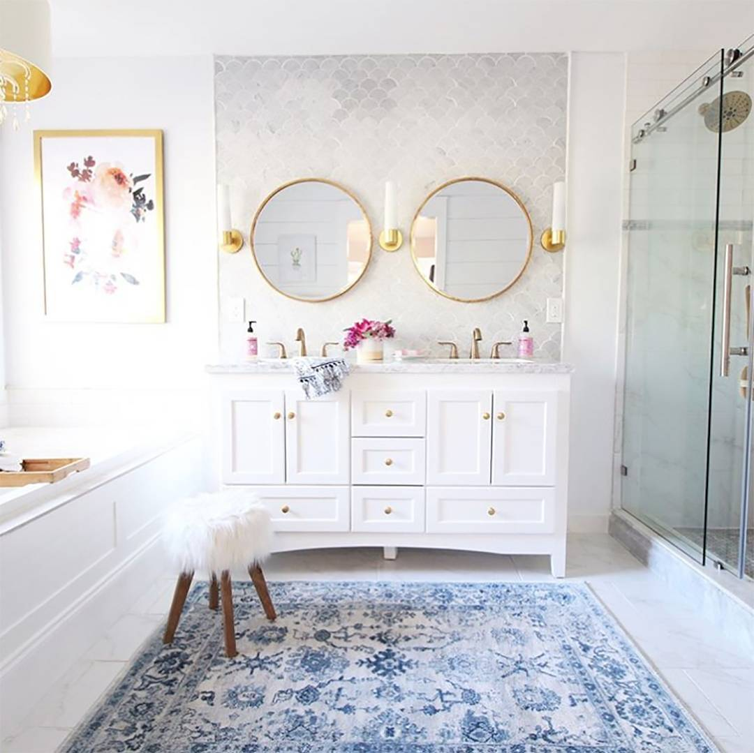 Glamorous Bathroom With Two Mirrors Gives Too Fancy Feel
