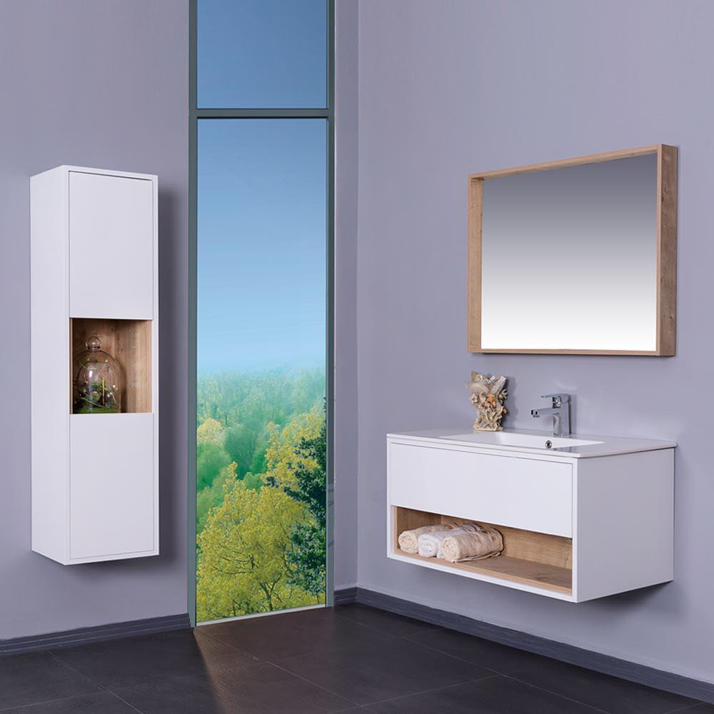 Modern Bathroom Vanity With White Integrated Porcelain Sink And Rectangular Wooden Framed Mirror