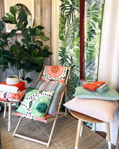 New Summer Melon Fabric Collection With Deck Chair For Outdoor Decoration