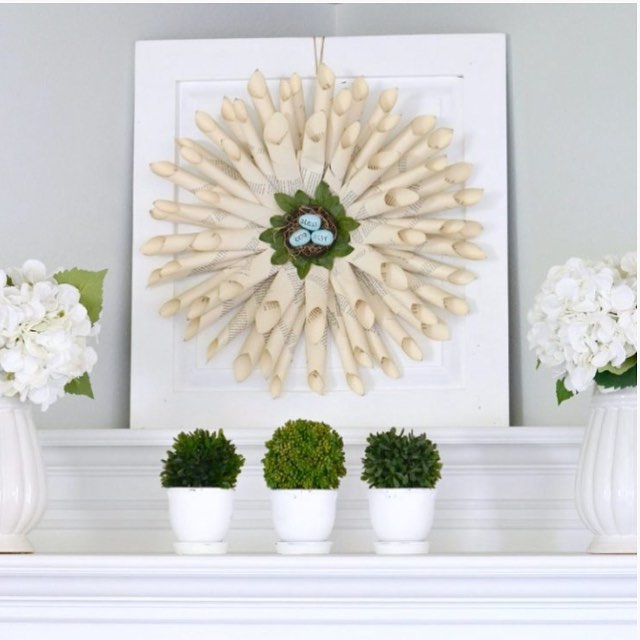 Paper Wreath With Addition Of Indoor Plants