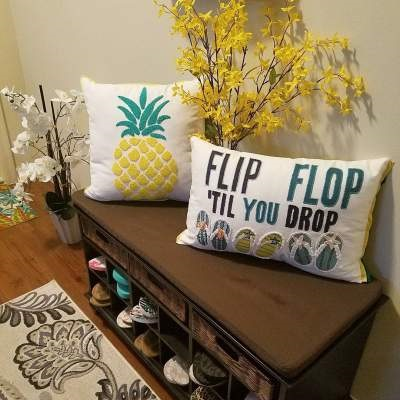 Pineapple Pillow With Fresh Flowers Looks Fabulous