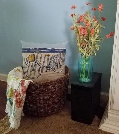 Pretty Basket With Bike Pillow For Living Room Decor