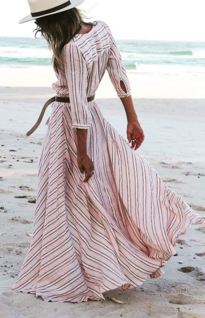 Rocking Peach Stripes Maxi Dress For Beach